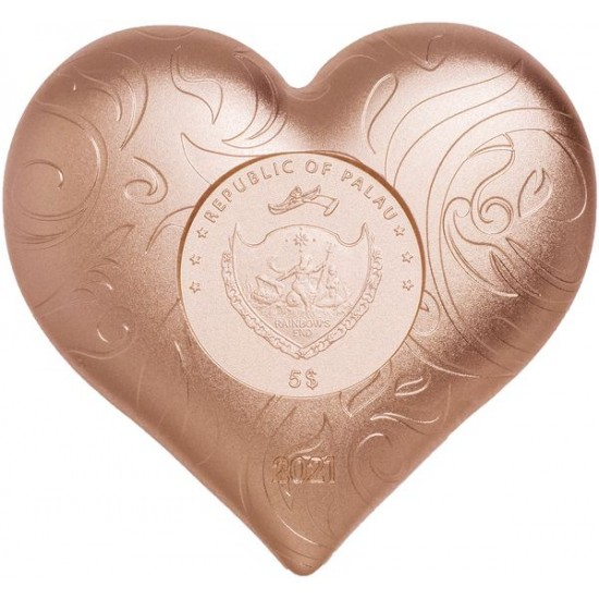 Ezüst Szív Palau 1 uncia ezüst pénzérme vörös arannyal bevonva
