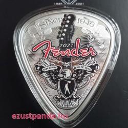 Fender gitár 75 éves 2021 1 uncia proof ezüst pénzérme - pengető alakú érme!