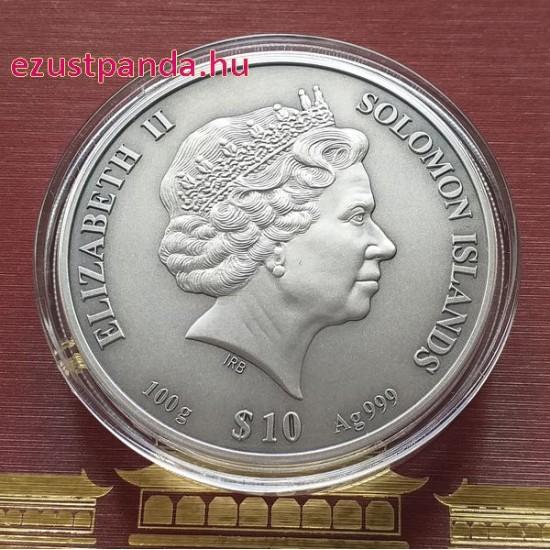 A Tiltott Város - Salamon-szigetek 2020 100 gramm antikolt ezüst pénzérme, 4-rétegű veret