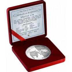 """Tokelau Bivaly éve """"Mirror Oxen"""" 2021 1 uncia proof ezüst pénzérme - CSAK 500 PÉLDÁNY!"""