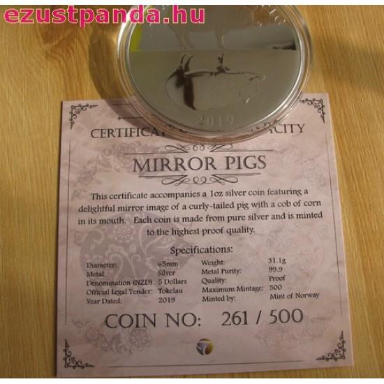 """Tokelau Disznó éve """"Mirror Pigs"""" 2019 1 uncia proof ezüst pénzérme - CSAK 500 PÉLDÁNY!"""