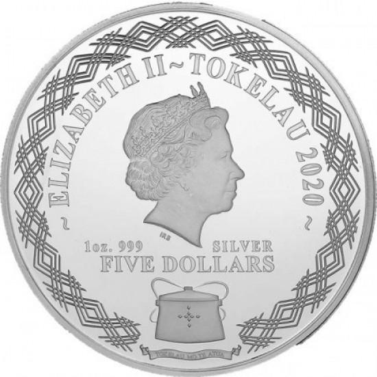 """Tokelau Patkány (Egér) éve """"Mirror Rats"""" 2020 1 uncia proof ezüst pénzérme"""
