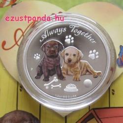 Mindig együtt - Always Together 2016 Labrador kutya 1/2 uncia színes ezüst pénzérme