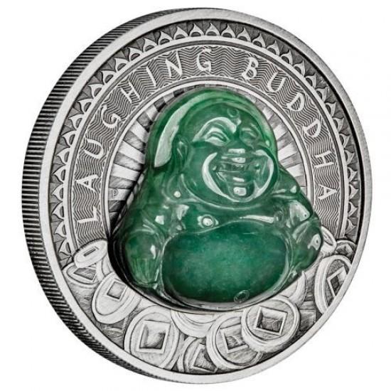 Nevető Buddha - Tuvalu 2019 1 uncia ezüst pénzérme jádekővel