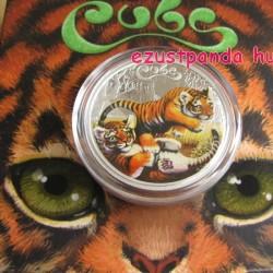 Tigriskölykök 2016 1/2 uncia színes ezüst pénzérme