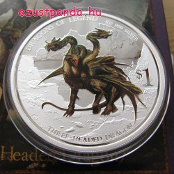 Háromfejű sárkány - 2013 1 uncia proof ezüst pénzérme