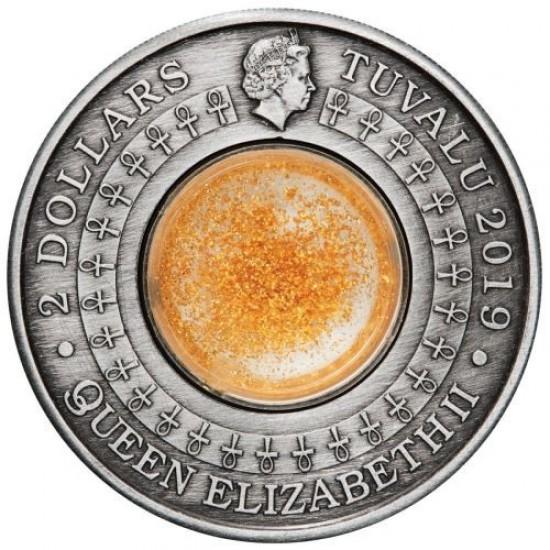 Az ókori Egyiptom arany kincsei - Tuvalu 2019 2 uncia antikolt ezüst pénzérme