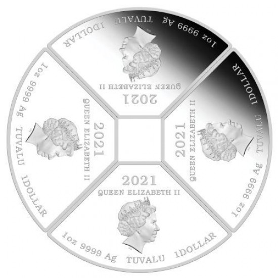 """Lunar Bivaly éve 2021 4x1 uncia színes proof ezüst érmeszett (""""kvadráns szett"""")"""