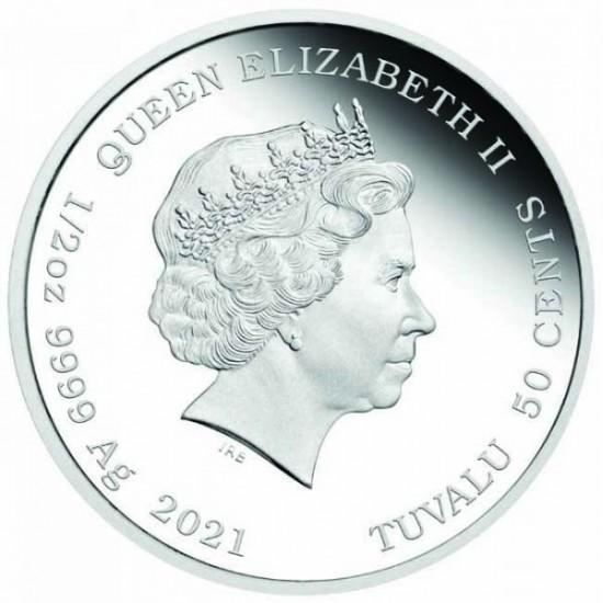 """Kisborjú (""""Bébi Bivaly"""") 2021 1/2 uncia színes ezüst pénzérme"""