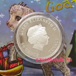 """Kecskegida (""""Bébi Kecske"""") 2015 1/2 uncia színes ezüst pénzérme"""