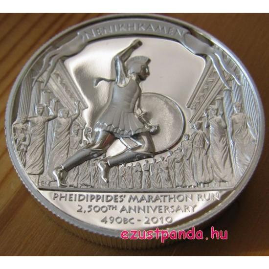 Marathon Pheidippides 2010 1 uncia high relief ezüst pénzérme