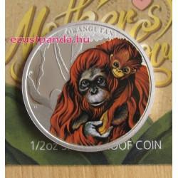 Anyai szeretet - Orangután 2014 1/2 uncia színes ezüst pénzérme