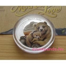 Anyai szeretet - Medve 2014 1/2 uncia színes ezüst pénzérme