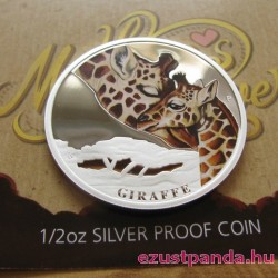 Anyai szeretet - Zsiráf 2014 1/2 uncia színes ezüst pénzérme