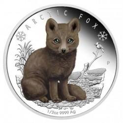 Sarki róka kölyök 2017 1/2 uncia színes ezüst pénzérme