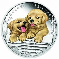 Kutyakölykök 2018 Golden Retriever 1/2 uncia színes ezüst pénzérme
