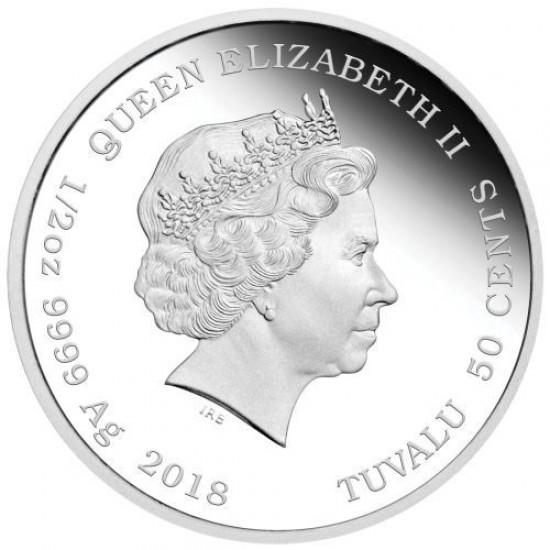 Kutyakölykök 2018 Border Collie 1/2 uncia színes ezüst pénzérme