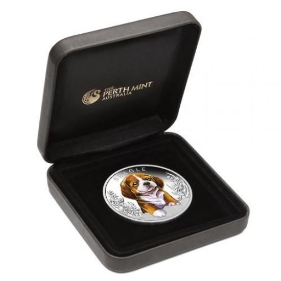 Kutyakölykök 2018 Beagle 1/2 uncia színes ezüst pénzérme
