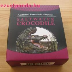 Ausztrália hüllői - Sósvizi krokodil 2017 1 uncia proof ezüst pénzérme