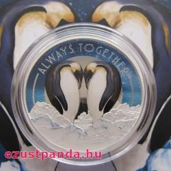 Mindig együtt - Always Together 2018 Pingvinek 1/2 uncia színes ezüst pénzérme