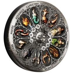 Csillagjegyek - Zodiac 2020 5 uncia antikolt, színezett ezüst pénzérme - CSAK 388 PÉLDÁNYBAN!