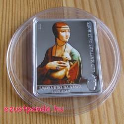 Festők - Da Vinci: Hölgy hermelinnel 2009 proof ezüst pénzérme Swarovski kristállyal