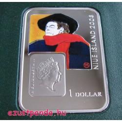 A Világ festői: Toulouse-Lautrec - Niue 2008 színes ezüst pénzérme