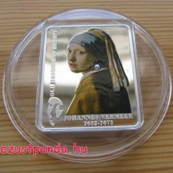 Festők - Vermeer: Lány gyöngy fülbevalóval 2009 proof ezüst pénzérme igazgyönggyel