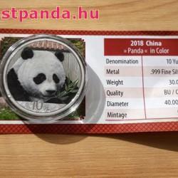Panda 2018 30 gramm színes ezüst pénzérme