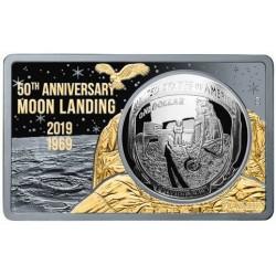 Apollo 11 holdraszállás 2019 3 uncia fekete proof aranyozott ezüst szett USA