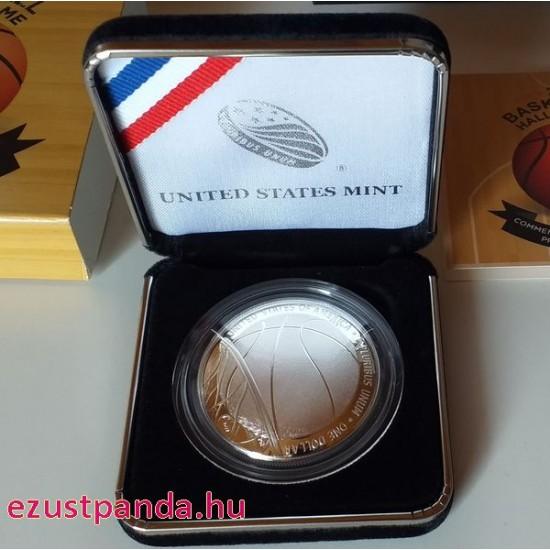 "Kosárlabda ""Hall of Fame"" USA 2020 1 dollár proof ezüst pénzérme"