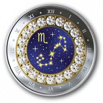 Csillagjegyek Skorpió 2019 proof ezüst pénzérme Swarovski kristályokkal