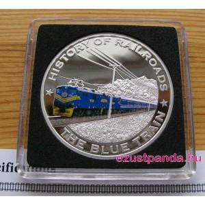 Vonatok Libéria - The Blue Train 2011 színes proof ezüst pénzérme