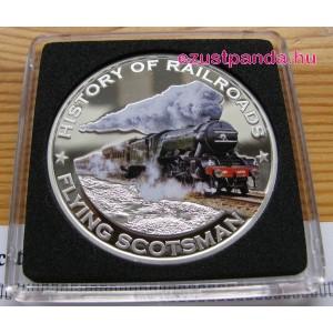 Vonatok Libéria - Flying Scotsman 2011 színes proof ezüst pénzérme