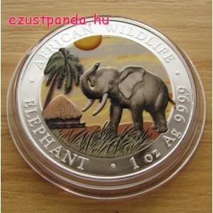 Szomália Elefánt 2017 1 uncia színes ezüst pénzérme
