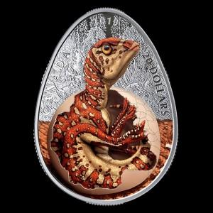 Hadrosaurus tojásban 2019 1 uncia kanadai proof ezüst pénzérme
