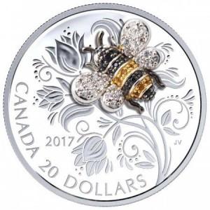Pillangó drágakövekkel - 2017 1 uncia kanadai proof ezüst pénzérme