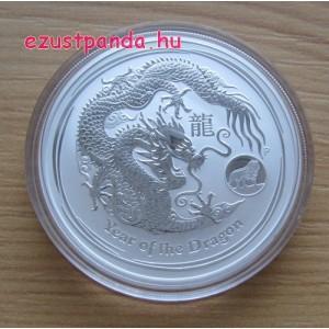 Lunar2 Sárkány éve 2012 1 uncia ezüst pénzérme, oroszlános verdejellel