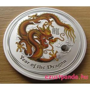 Lunar2 Sárkány éve 2012 1 uncia színezett ezüst pénzérme (aranyszínű)