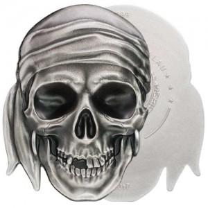 Kalóz koponya Palau 2017 1 uncia antikolt ezüst pénzérme